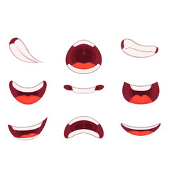 Different emotions of cartoon mouths with funny vector