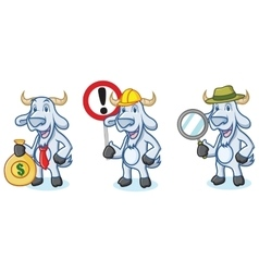 Light Blue Goat Mascot with money vector image vector image