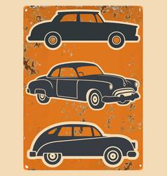 retro cars stickers set vintage auto vector image
