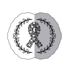 sticker silhouette ornament ribbon in hearts shape vector image vector image