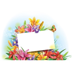 Arrangement of flowers with empty greeting card vector