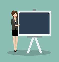 Business woman pointing to the blackboard vector image vector image