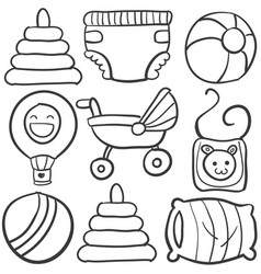 Doodle of baby toys on white background vector