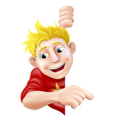 friendly young man or boy pointing vector image vector image