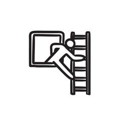 Man leaving building through window sketch icon vector