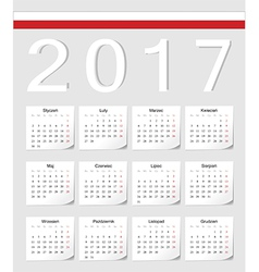 Polish 2017 calendar with shadow angles vector image