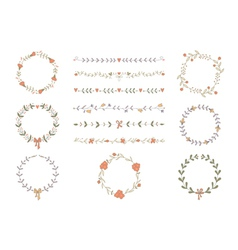 Set of hand drawn wreaths and boarders vector image
