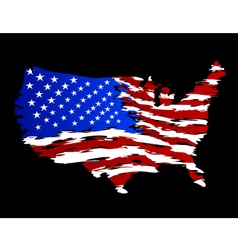 USA Flag in Shape of America vector image