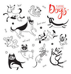 11 hand drawn cute dogs vector image