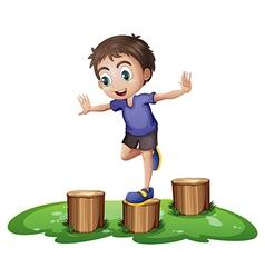 A young boy above stump vector