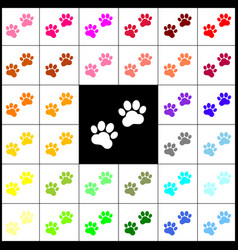 animal tracks sign felt-pen 33 colorful vector image