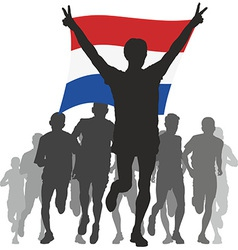 Athlete with the Netherlands flag at the finish vector