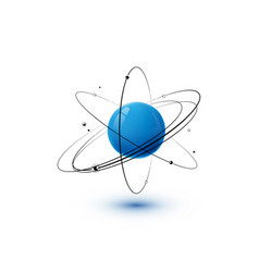 Atom with blue core orbits and electrons isolated vector