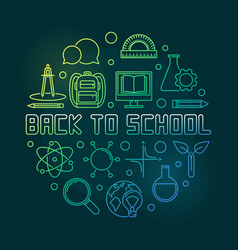 back to school concept round linear green vector image