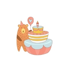 Bear And A Giant Birthday Cake vector image