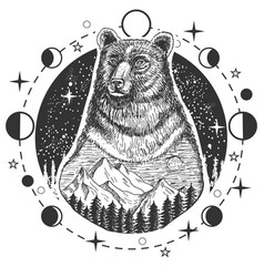 bear head tattoo or t-shirt print design vector image