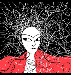 Beautiful graphic portrait a woman with hair vector