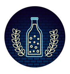 beer bottle bubles drink neon design emblem vector image