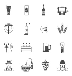 Beer Icons Black Set vector image