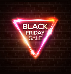 black friday sale in neon triangle background vector image