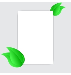Blank white sheet paper and green fresh spring vector image