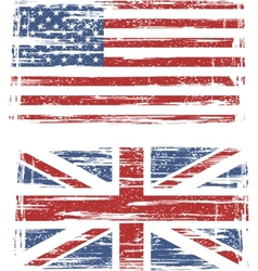 British and American grunge flags vector image