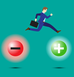 Businessman jumping to positivity vector