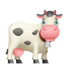 cartoon cute white cow standing black spots milk vector image