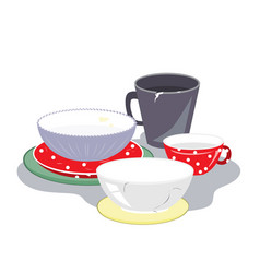 Ceramic plates mugs and bowls different shape vector