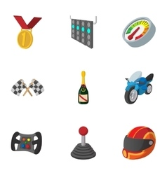 Championship formula 1 icons set cartoon style vector