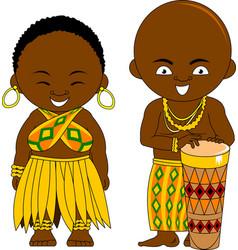 Cheerful african drum vector