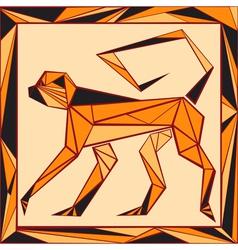Chinese horoscope stylized stained glass monkey vector image