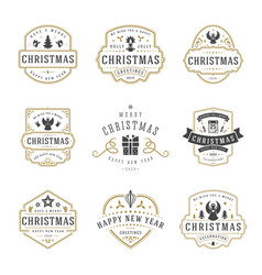 christmas and happy new year wishes labels and vector image