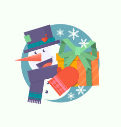 christmas card with snowman holding presentflat vector image
