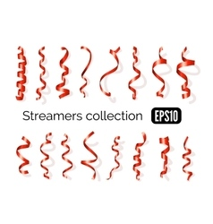 Collection of red streamers and party ribbons vector image