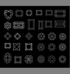 Collection shapes diamond against black vector