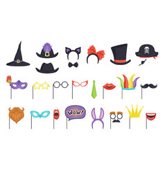 colorful set with carnival masks and hats witch vector image
