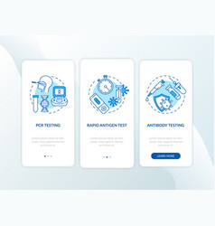 Covid19 testing types onboarding mobile app page vector