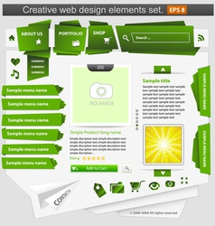 Creative web design elements set green vector