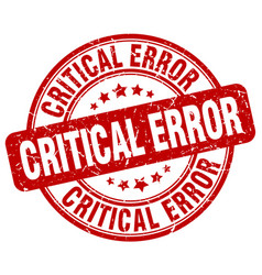 Critical error red grunge stamp vector