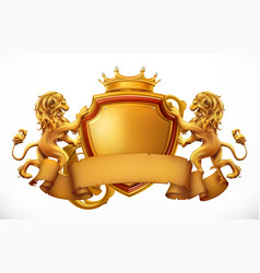 Crown lions and shield 3d icon vector