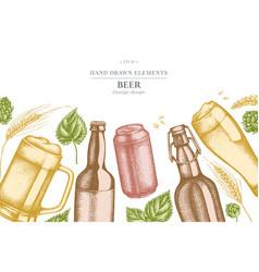 design with pastel colored rye hop mug beer vector image