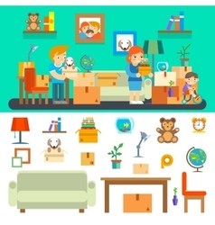 Family moves in new apartment Changing house vector image