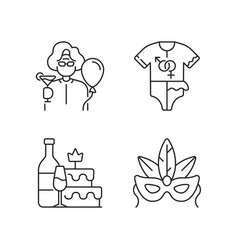 Family party greeting linear icons set vector