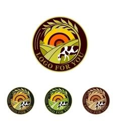 Farm isolated green logo collection Rural vector image