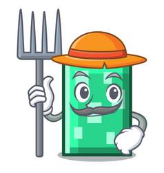 Farmer rectangle character cartoon style vector