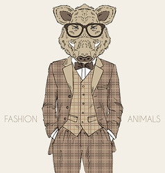 Fashion of wild boar in tweed suit vector