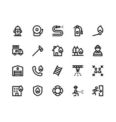 Firefighter line icons vector