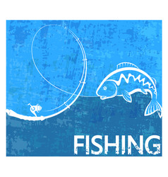 Fishing rod and fish poster vector