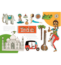 flat india elements composition vector image